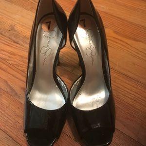 Jessica Simpson Patent Leather Black Peep Toe